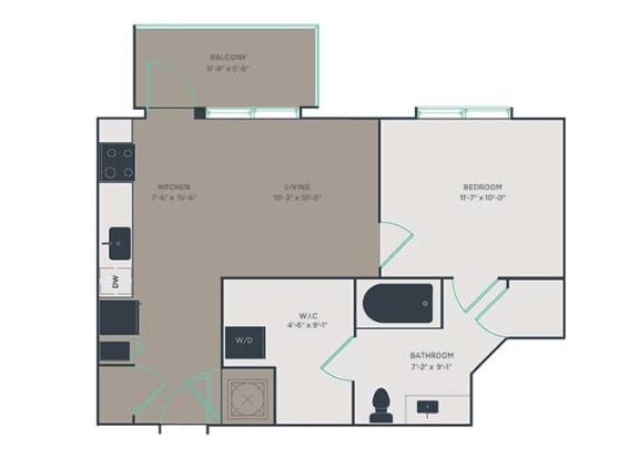 J3 1 Bed 1 Bath Floor Plan at Link Apartments® Montford, Charlotte, 28209