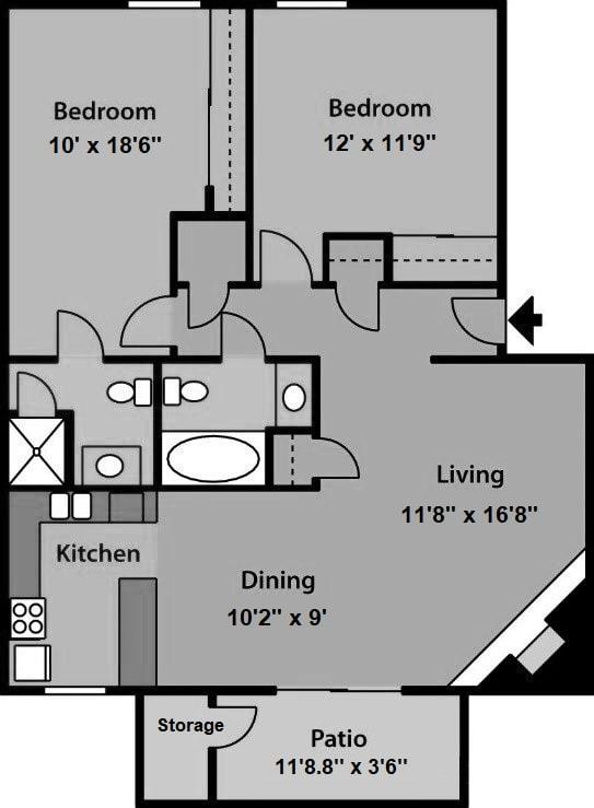 2 Bedroom 2 Bathroom Floor Plan at The Village at Iron Blossom, Nevada, 89511