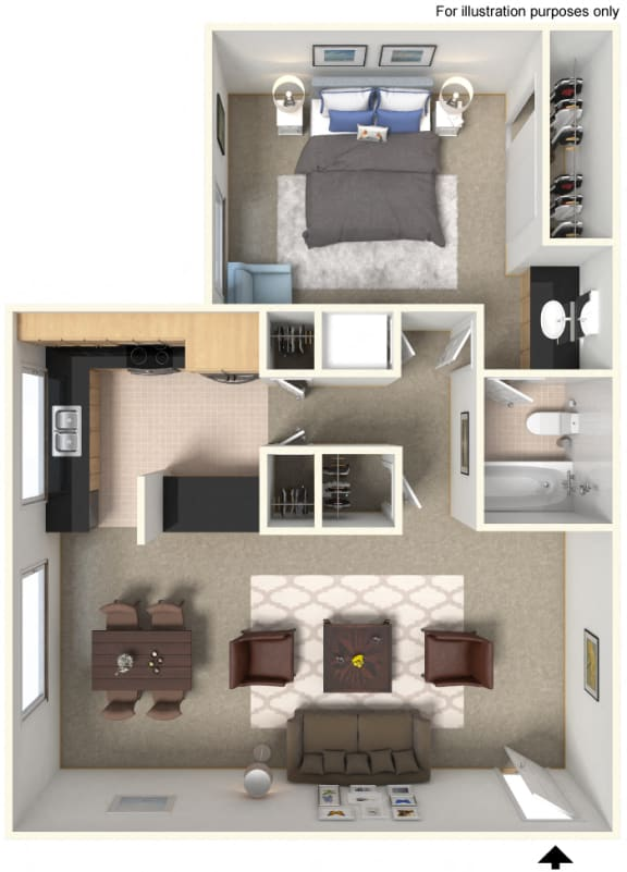 One Bedroom A2 Floor Plan at Stoneridge Apartment Homes Upland, CA, 91786