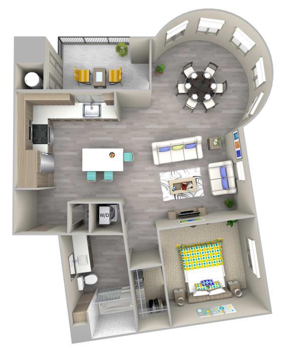 sunset a1.1 Floor Plan at Las Positas Apartments, California, 93010