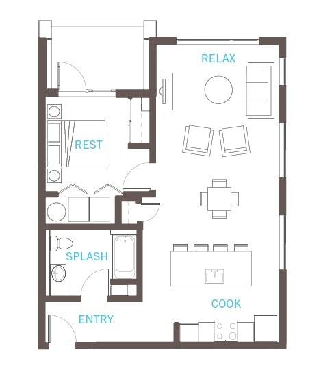 Floor Plan  One bedroom, one bath, A 24 floor plan at Vue 22 aparments