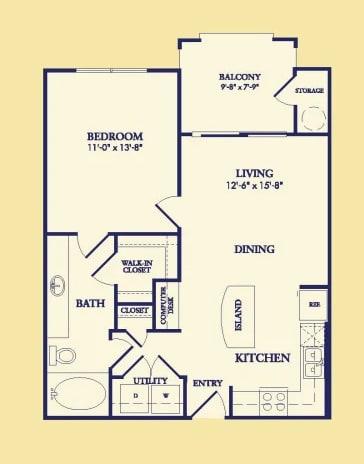 One Bedroom A2 Floor Plan