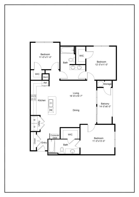 Three Bedroom C1 Floor Plan
