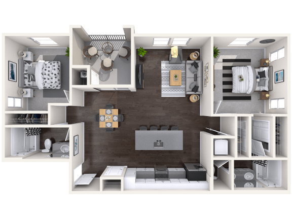 B2 Floor Plan at Mitchell Place Apartments, California, 92562