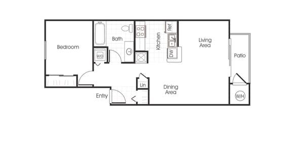 A1 floorplan one bedroom one bathroom at Bella Vista at Elk Grove Apartments, Elk Grove, CA