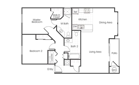 B1 floorplan two bedrooms two bathrooms at Bella Vista at Elk Grove Apartments, Elk Grove, CA, 95758