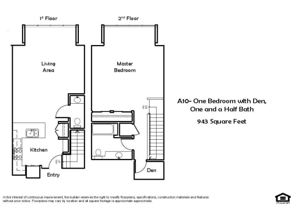 A10 1 Bed 1.5 Bath Floorplan at Pacific Place, Daly City 94014