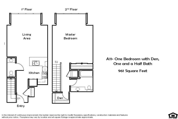 A11 1 Bed 1.5 Bath Floorplan at Pacific Place, Daly City, CA, 94014