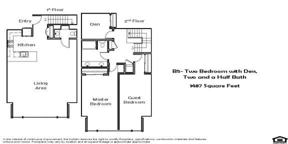 B5 2 Bed 2.5 Bath Floorplan at Pacific Place, Daly City, CA