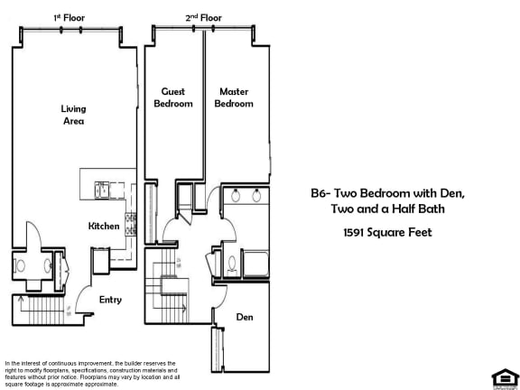 B6 2 Bed 1.5 Bath Floorplan at Pacific Place, California 94014
