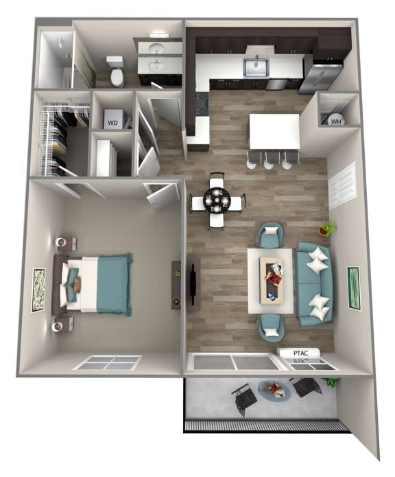 1 Bed 1 Bath Cortland Floor Plan at Hearth Apartment Homes, Vancouver, WA