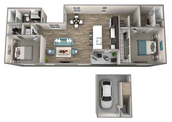 2 Bedroom 2 Bathroom Cameo Floor Plan at Hearth Apartment Homes, Vancouver