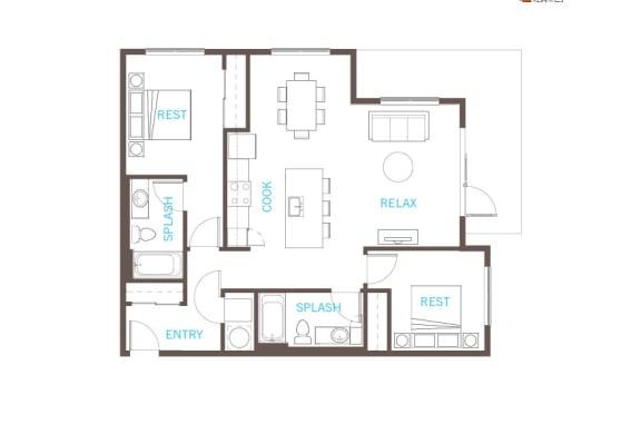 Floor Plan  2 Bedroom 2 Bathroom Floor Plan at Vue 22 Apartments, Bellevue, WA
