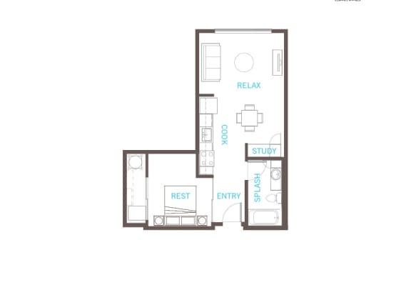 Floor Plan  1 Bed 1 Bath Floor Plan at Vue 22 Apartments, Washington, 98007