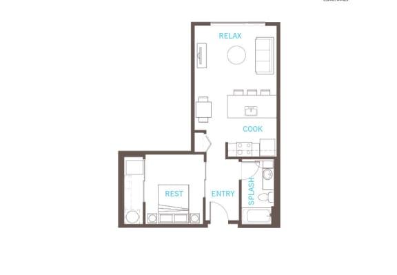 Floor Plan  1 Bedroom 1 Bathroom Floor Plan at Vue 22 Apartments, Bellevue, Washington