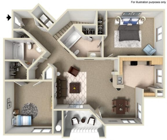 E Floor Plan, at Missions at Sunbow Apartments, Chula Vista, CA