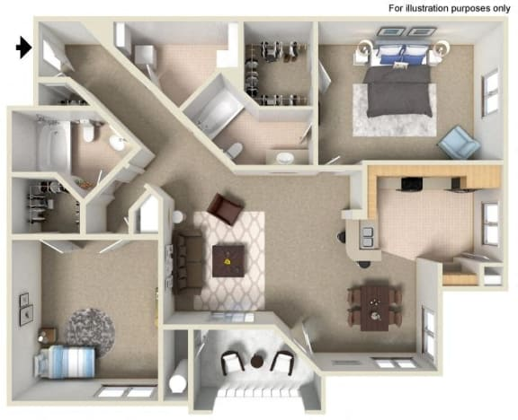 E Floor Plan, at Missions at Sunbow Apartments, CA, 91911