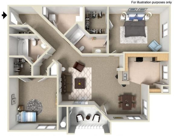 F Floor Plan, at Missions at Sunbow Apartments, 5540 Ocean Gate Lane