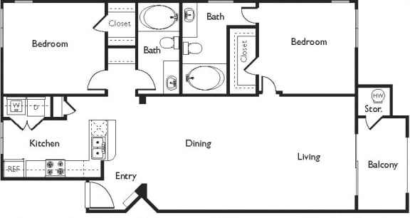 C Floor Plan, at Missions at Sunbow Apartments, Chula Vista, CA
