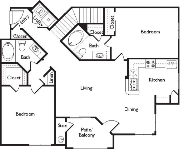 E Floor Plan, at Missions at Sunbow Apartments, Chula Vista, California