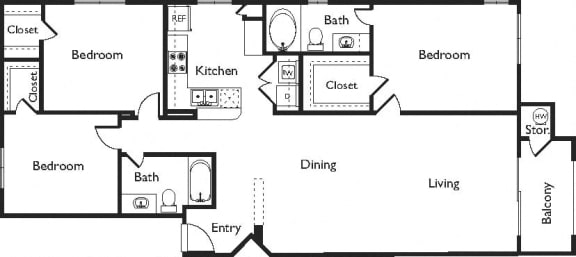 G Floor Plan, at Missions at Sunbow Apartments, Chula Vista, California