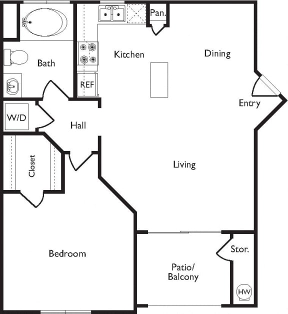 A Floor Plan, at Missions at Sunbow Apartments, CA, 91911