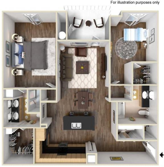 40c2 - 2x2 Floor Plan, at Tavera, Chula Vista, CA