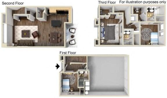 TH - 3x3.5 Floor Plan, at Tavera, Chula Vista, California