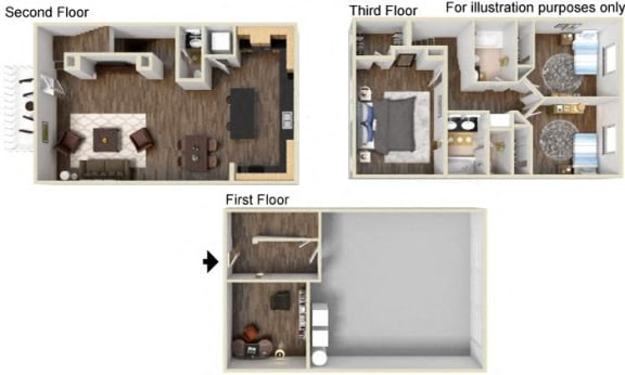 TH - 3x2.5 - With Additional Den Floor Plan, at Tavera California, 91913