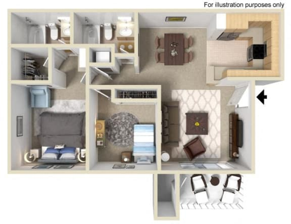 Naples Floorplan Two Bedroom Two Bath
