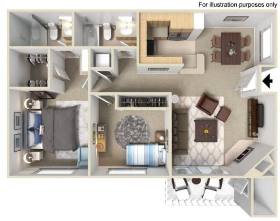 Piazzo Floorplan Two Bedroom Two Bath