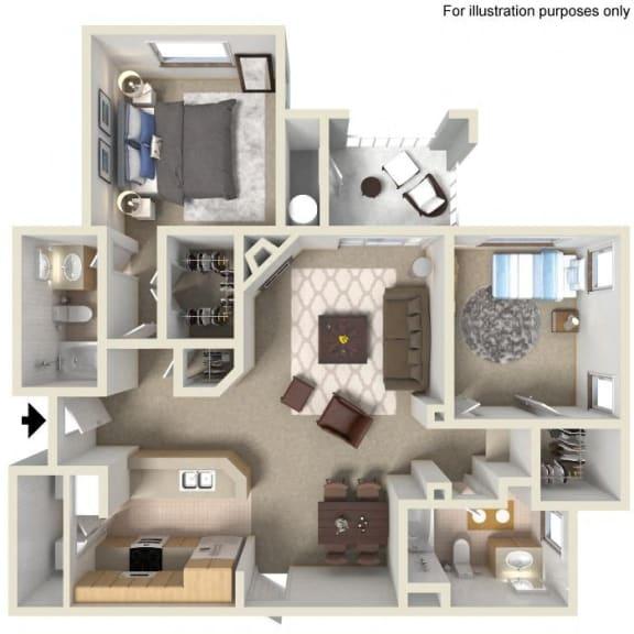 D- Brandriff 1,098 SF Floor Plan, at Casoleil, San Diego, California