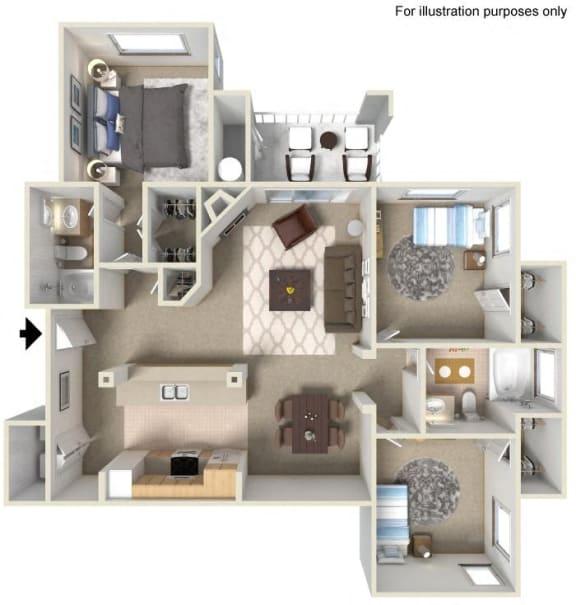 Floor Plan  E- Lauritz 1,295 SF Floor Plan, at Casoleil, 1100 Dennery Rd, CA