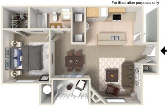 B- Francisco 809 SF Floor Plan, at Casoleil, San Diego, 92154
