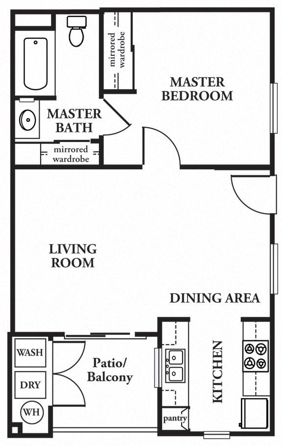 1 x 1 Floor plan, at The Landing, San Diego, 92154