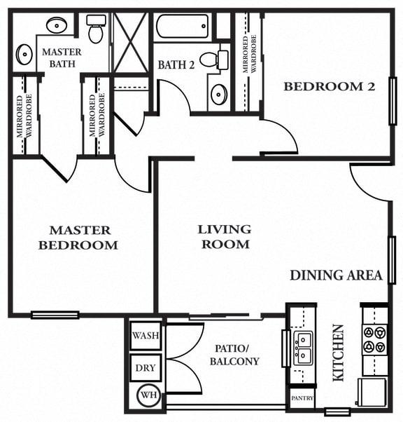 2 x 2 B Floor plan, at The Landing, CA, 92154