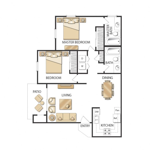 Plan B - Two Bedrooms - Renovated Floor Plan, at Altair, CA, 92029