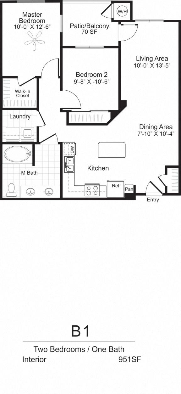Two Bedroom One Bath Floorplan