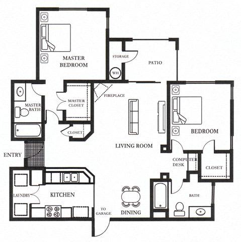 D- Brandriff 1,098 SF Floor Plan, at Casoleil, San Diego, 92154