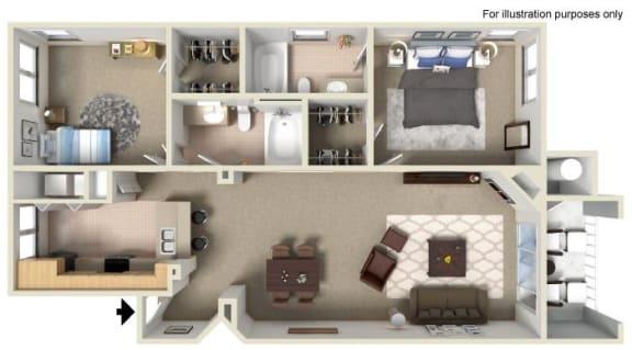 Floor Plan  C 1,082 SF San Gabriel RENOVATED