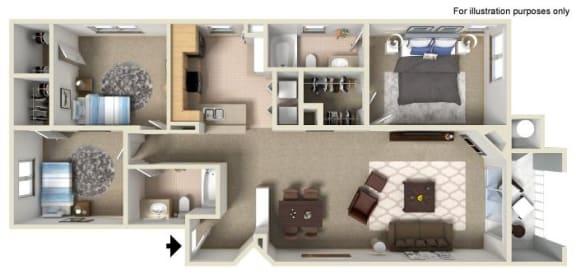 Floor Plan  E 1,324 SF San Marcos RENOVATED