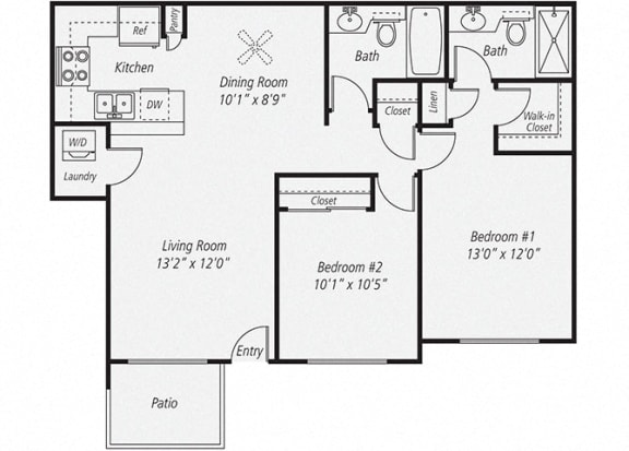 Two Bedroom/Two Bath Floor plan, at Park Pointe, El Cajon, California
