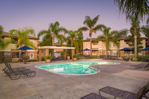 Pool Side Relaxing Area With Sundeck at The Landing, San Diego, CA, 92154