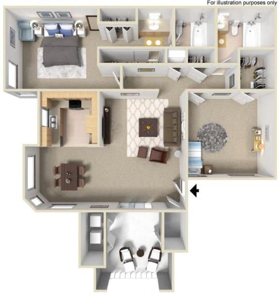 E 2x2, 3d Floorplan, at Sunbow Villas, 750 Paso De Luz, CA