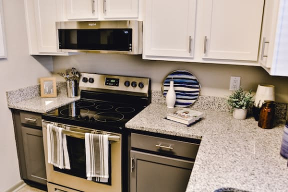 kitchen with granite countertops and stainless steel appliances at The Jameson Apartments, Homewood, Alabama