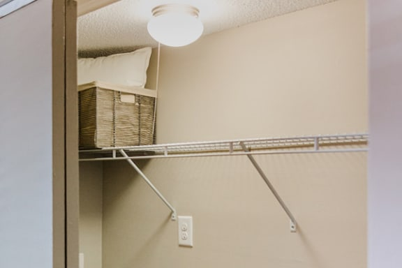 large closet with built-in shelf at The Jameson Apartments, Homewood, AL