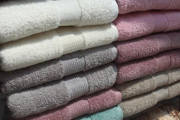 folded towels stacked up at The Jameson Apartments, Homewood, Alabama