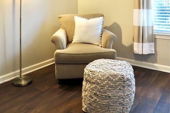 hardwood floors in living room and model furniture