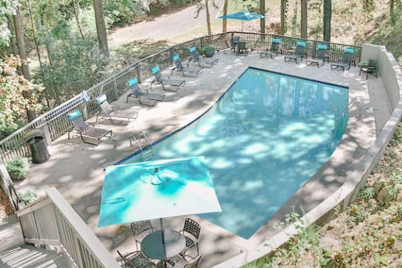large pool and sundeck with lounge furnishings at Berry Falls Apartments, Vestavia Hills, Alabama