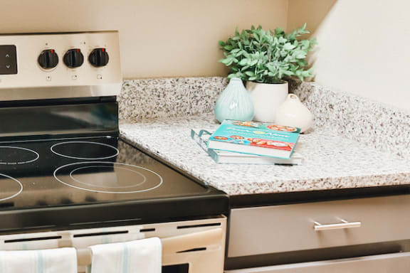 kitchen with flecked granite countertop and flat top stainless steel stove at Berry Falls Apartments, Alabama